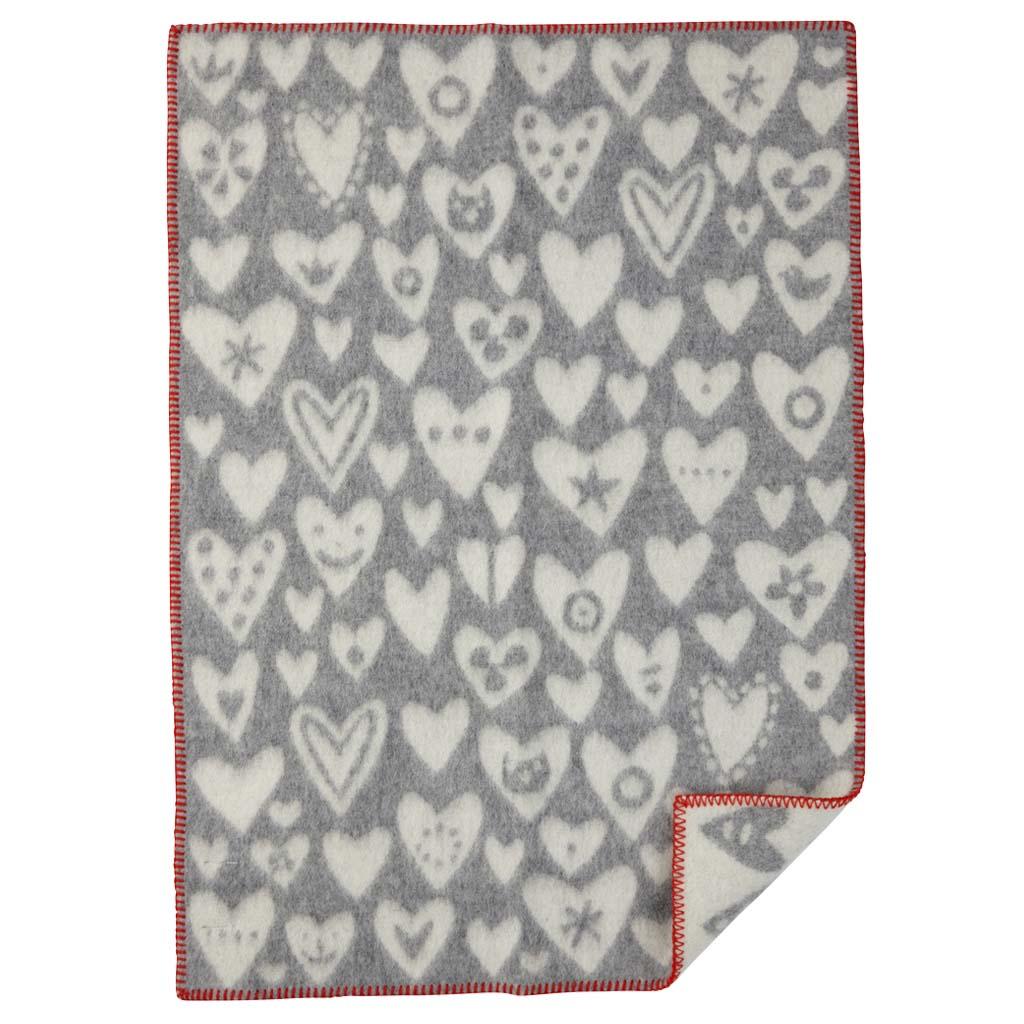 Ullfilt - Baby heart - grå