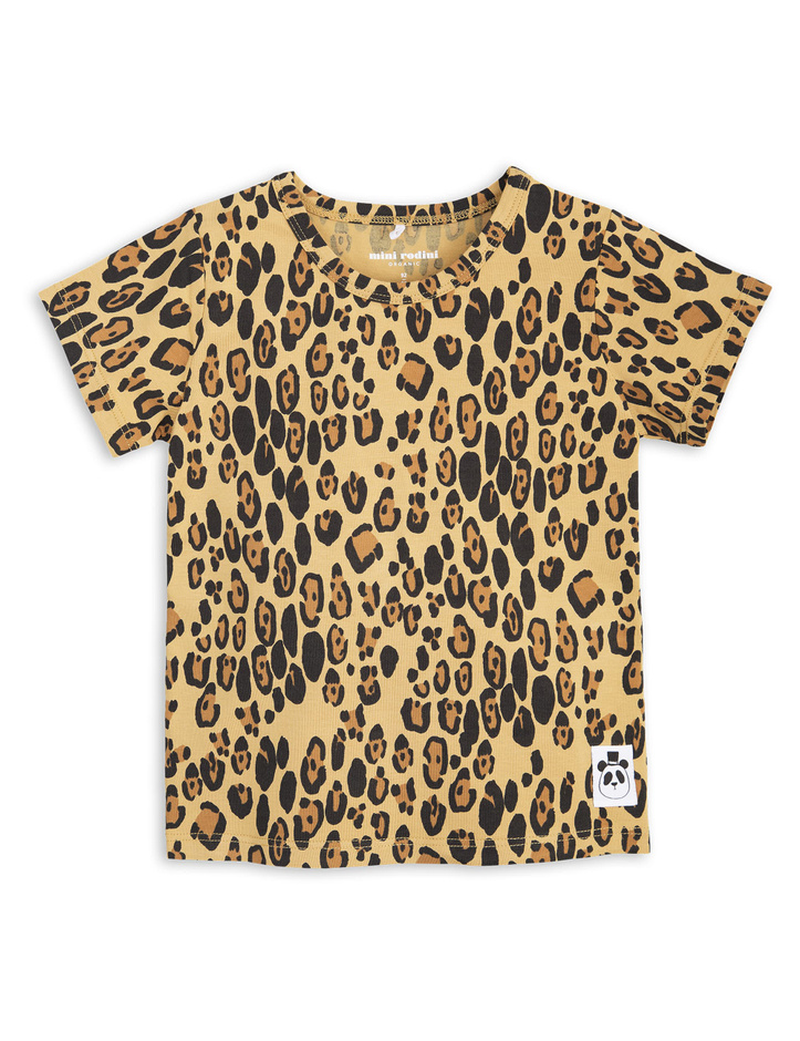 T-shirt - Basic leopard tee - beige