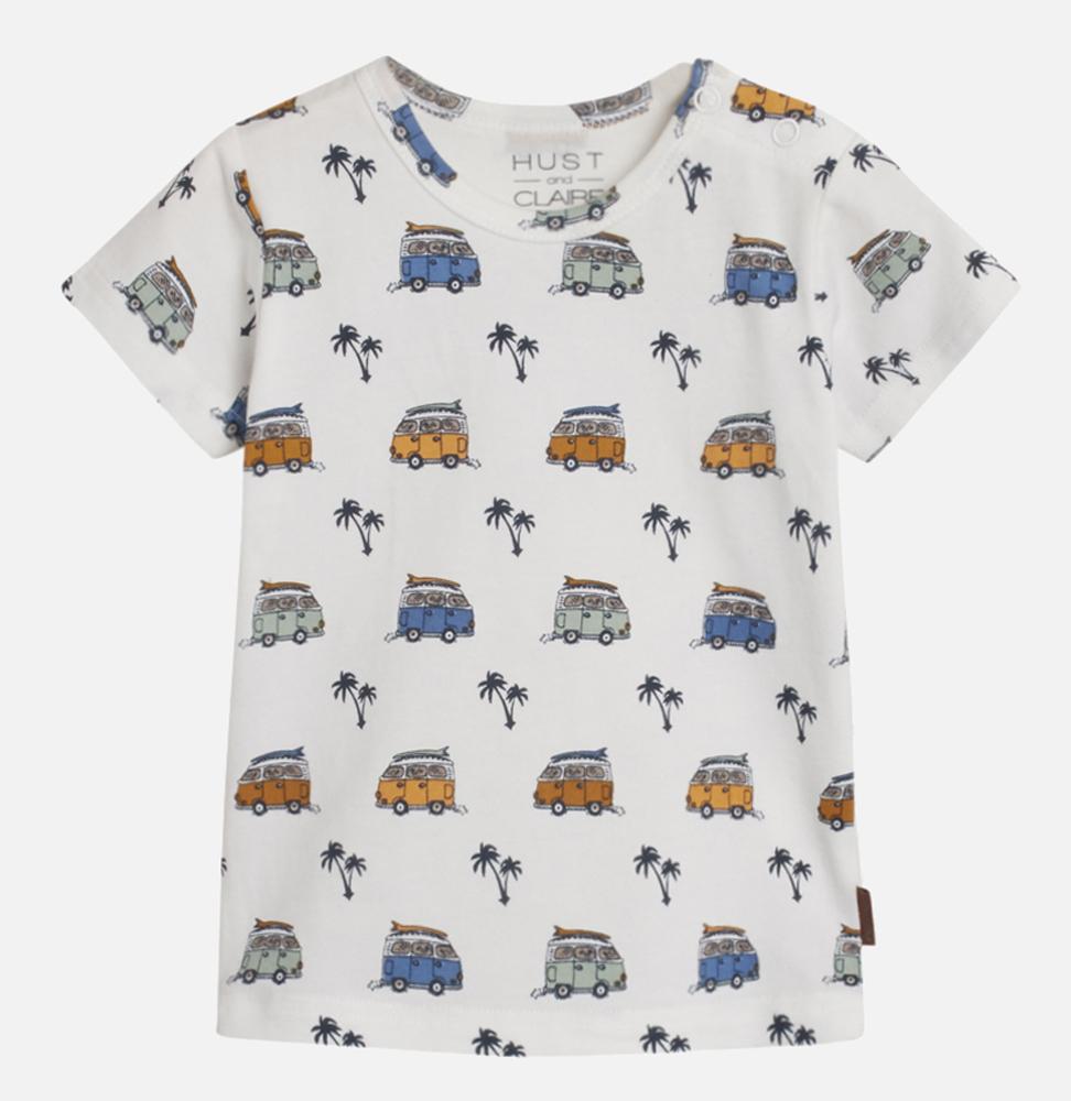 T-shirt med bilar och palmer