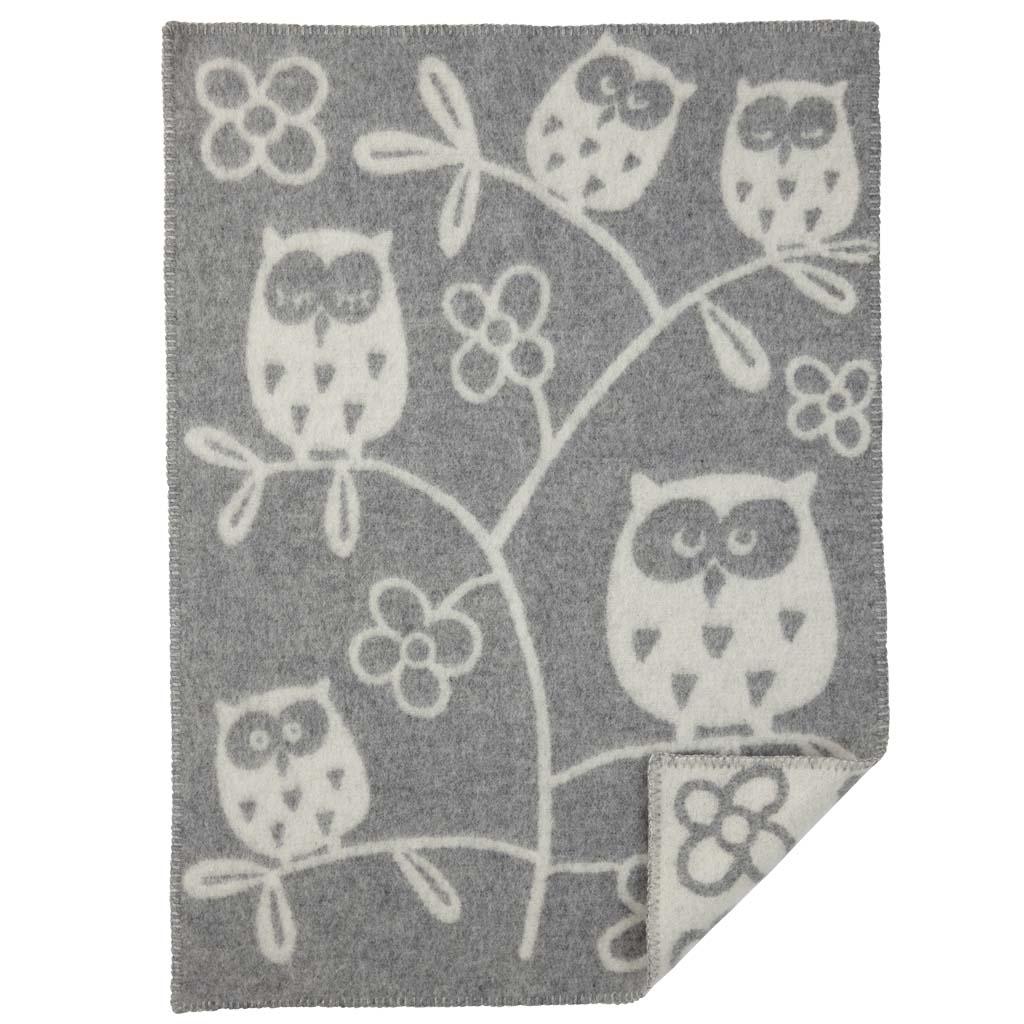 Ullfilt - Tree owl ljusgrå ullfilt 65x90
