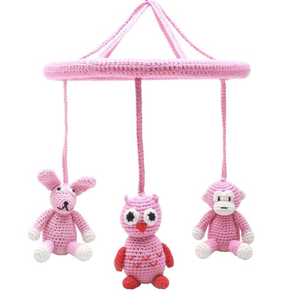 Mobil - Monkey, owl and rabbit light pink