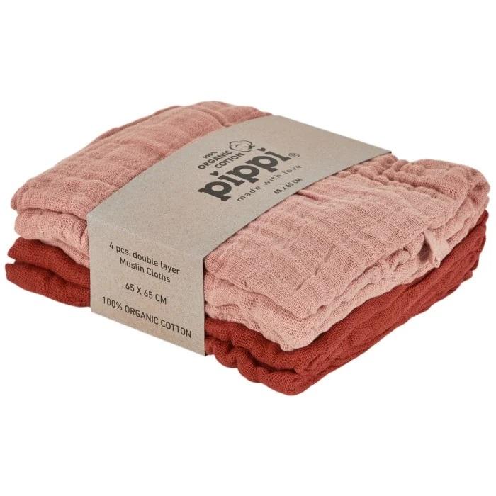 4-pack Muslin filtar - Misty Rose
