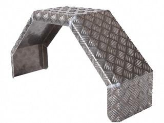 Mudguard, single axle, aluminium checker plate, 24 cm wide, HMAQ 2480
