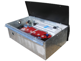 Packing box for and with electric hydraulic pump en batterie