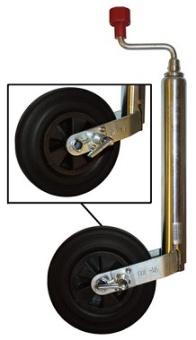 Stödhjul med stopp för obromsade släp