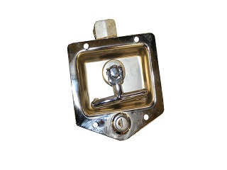 Locking gear with t-grip, for fitting integrated in a box van flap