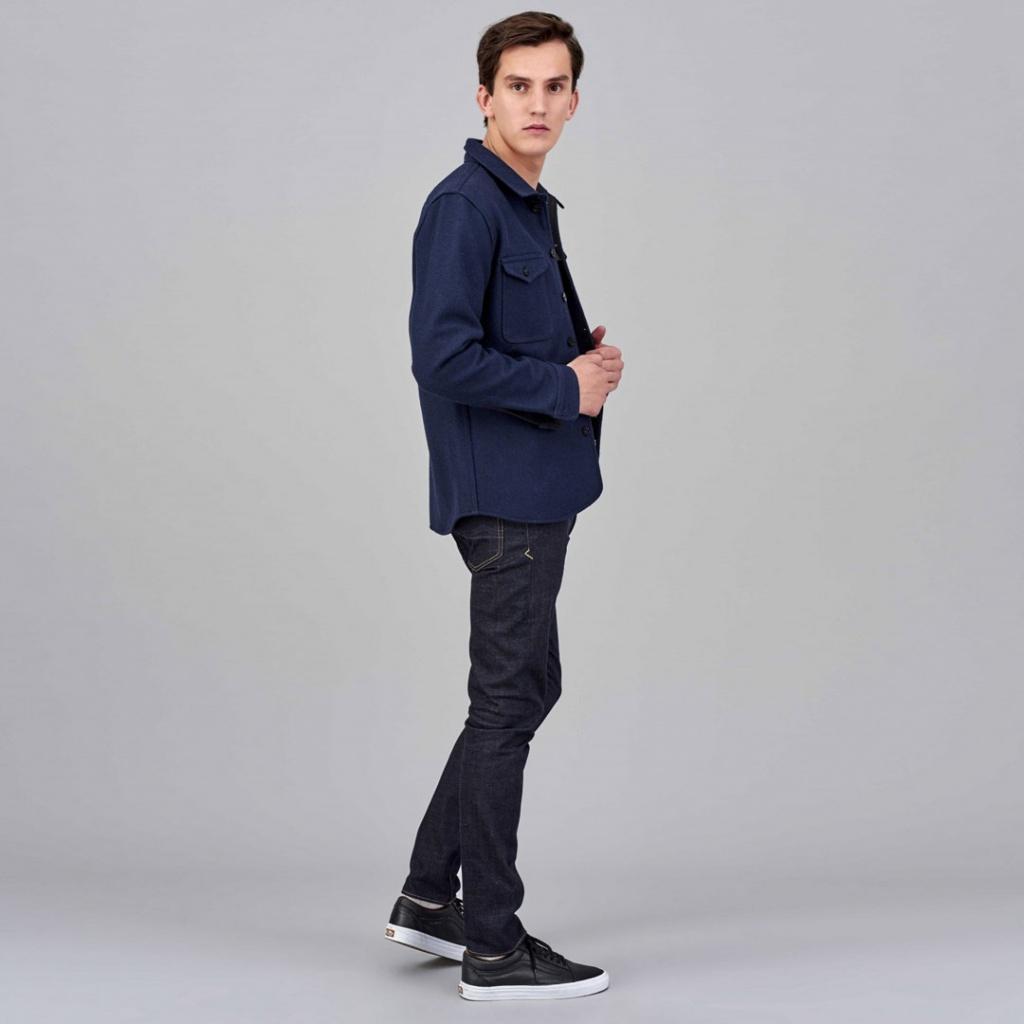 Angus Wool Shirt - Navy