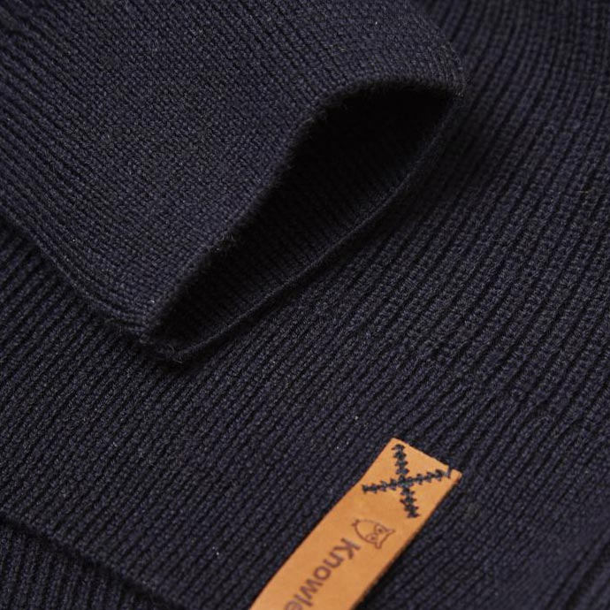 Zip Neck Rib Knit - Navy