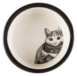 Keramikskål, Zentangle, 0.3 l/ø 12 cm, vit/svart - Filipstads Djurcenter