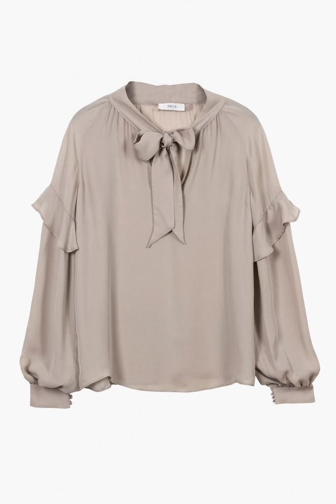 Eloise Silk Blouse – Soft Grey