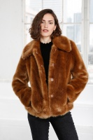 Ruth faux fur jacket - Cognac