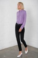 Multi button sidenblus violett