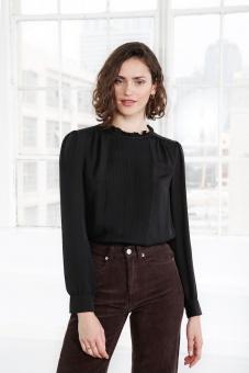 Alina sidenblus svart