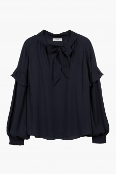 Eloise Silk Blouse – Dark Navy