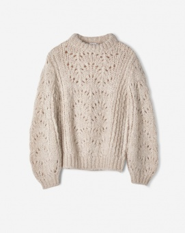 Pointelle R-neck Sweater