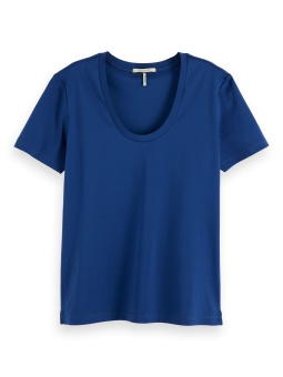 SCOTCH & SODA Topp, Scoop-neck in mercerized