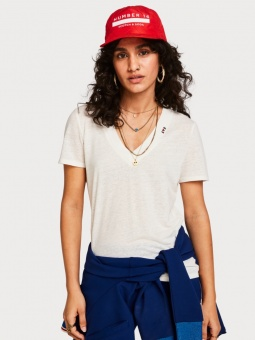 SCOTCH & SODA Topp, deep V neck in linen mix