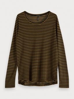 SCOTCH & SODA Topp, Basic long sleeve tee in lurex stripe
