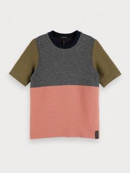 SCOTCH & SODA Topp, Colour block lurex short sleeve tee