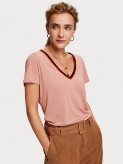 SCOTCH & SODA Topp, V-neck tee with velvet neck tape