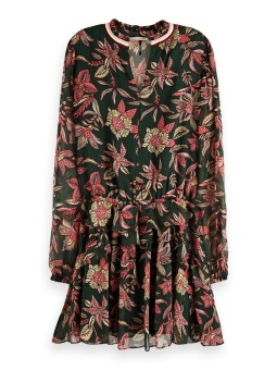 SCOTCH & SODA Klänning Printed dress with ribs and ruffles in viscose quality