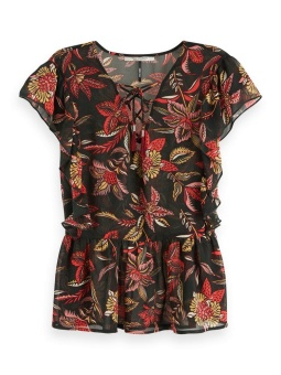 SCOTCH & SODA Topp Printed top with ruffles and lace-up v-neck