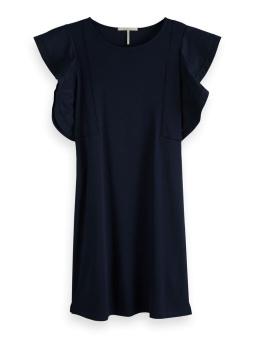 SCOTCH & SODA Klänning Jersey dress with woven ruffles
