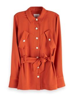 SCOTCH & SODA Skjort-jacka, Twill cargo shirt with a shell fabric belt