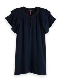 SCOTCH & SODA Topp, Rayon with sporty rib and ruffle sleeves