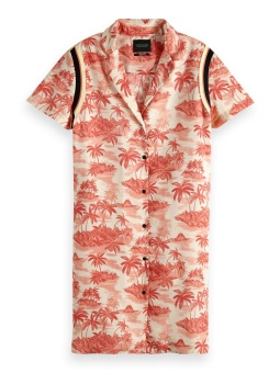 SCOTCH & SODA Klänning Shirt dress in hawaii print with sporty rib detail
