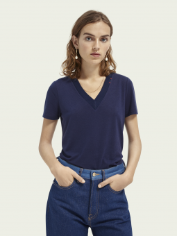 Scotch & Soda T-shirt V-neck Embroidery