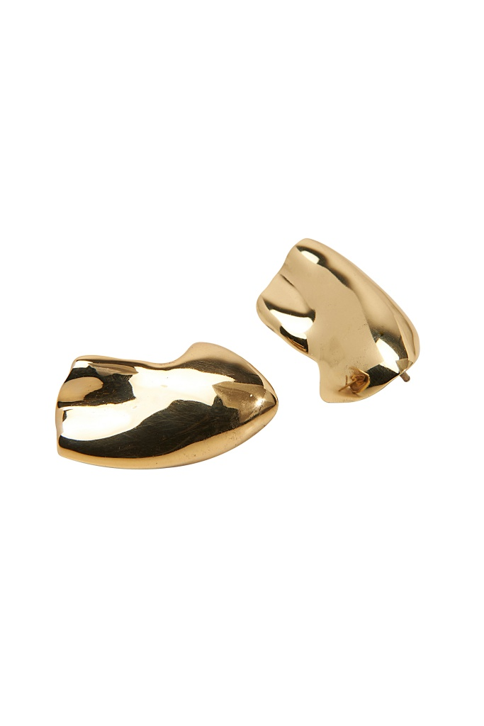 Molded ear - pair gold plated brass