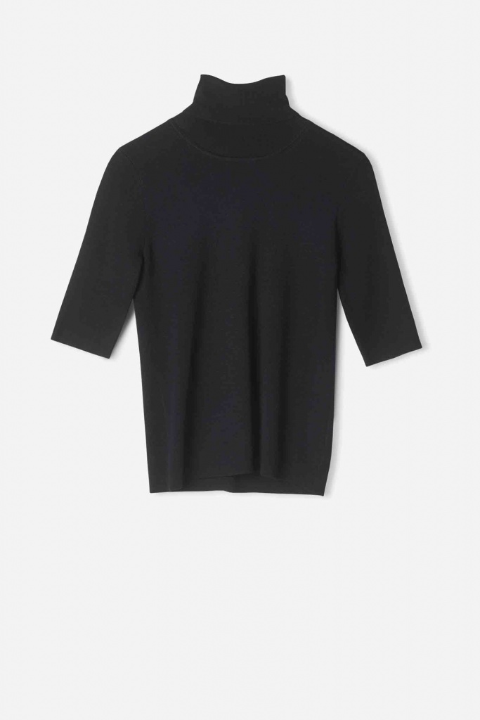 Merino Elbow Sleeve Top Black