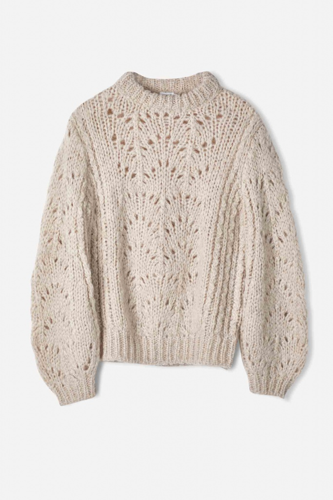 Pointelle R-neck Sweater Porcelain