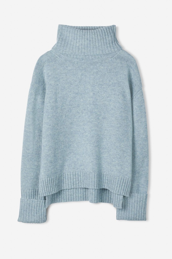 Chunky Roller Neck Sweater Aqua Mel