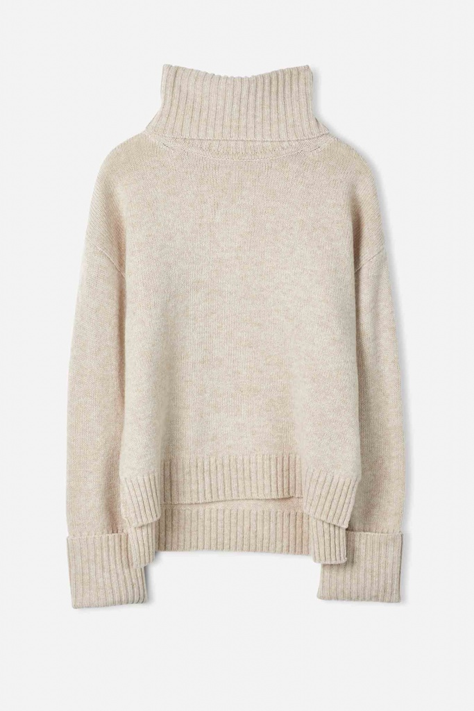 Chunky Roller Neck Sweater Sandstone
