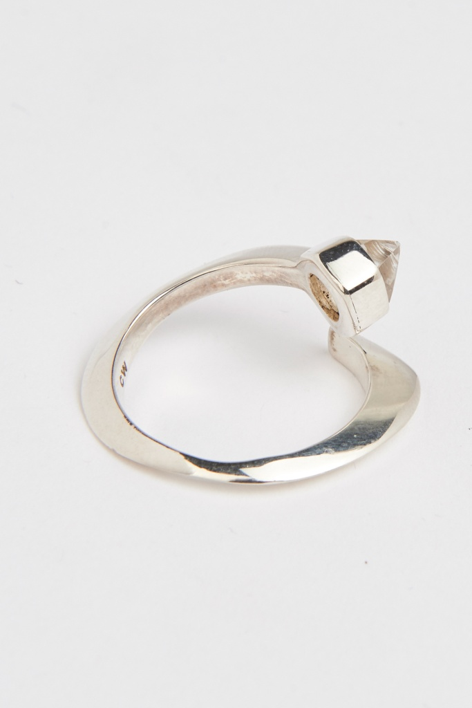 Slized ellipse ring sterling silver