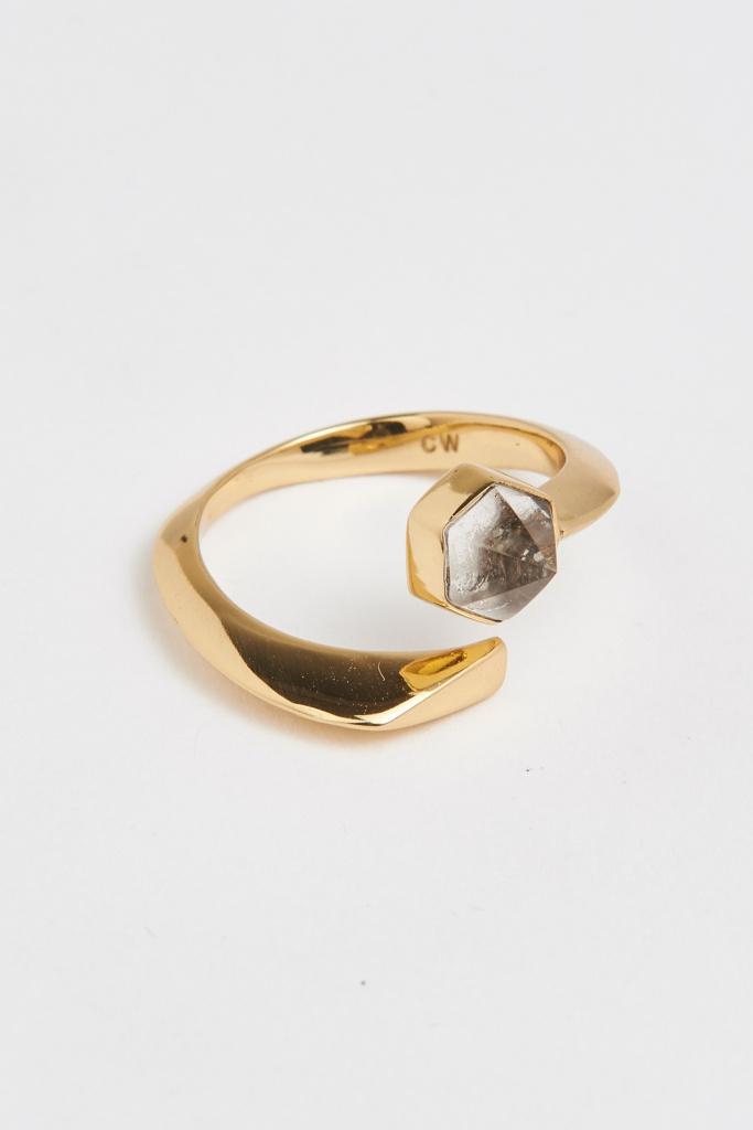 Slized ellipse ring gold plated sterling