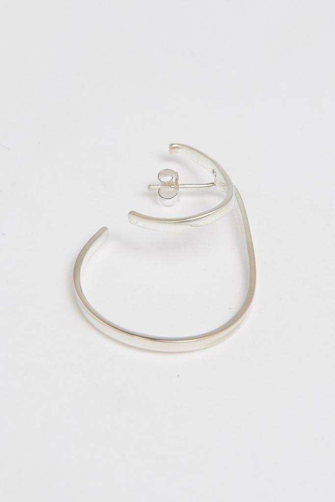 Slized double hoop earring silver plated brass