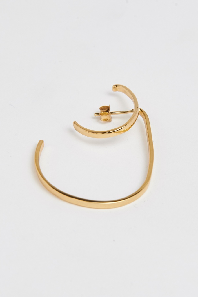 Slized double hoop earring gold plated brass