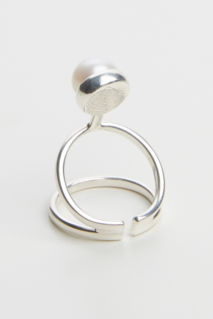 Pearled knuckle ring sterling silver