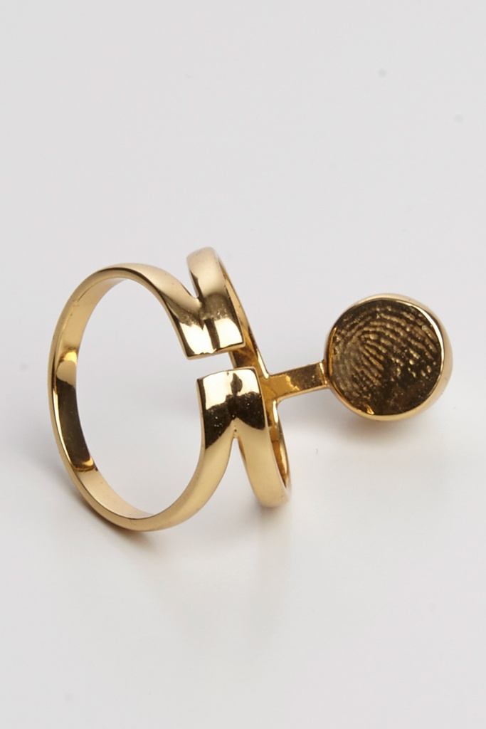 Pearled knuckle ring gold plated brass