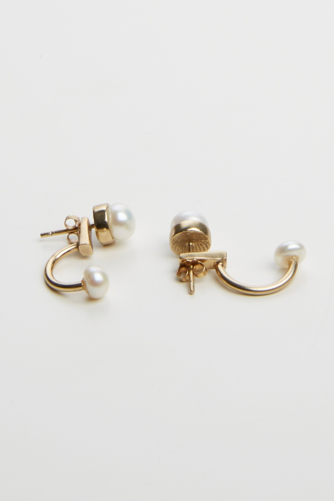 Pearled half hoop earring gold plated brass