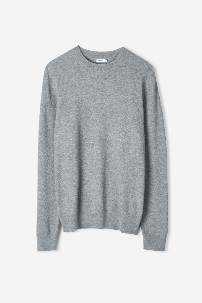 M. Moss Knit R-Neck Sweater light grey