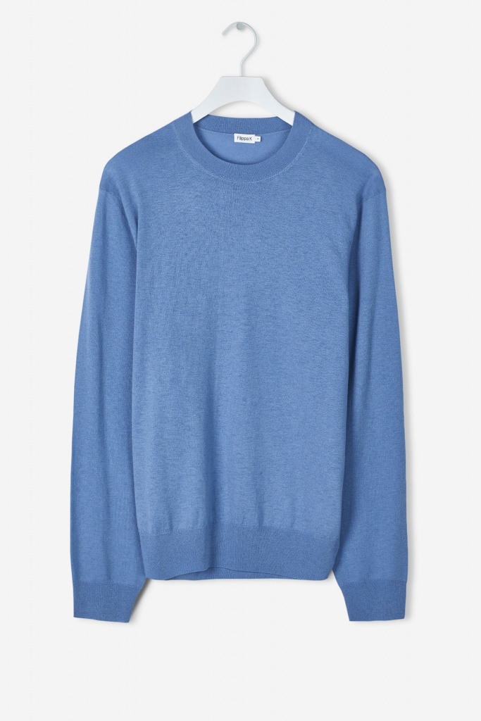 M. Silk Mix Crewneck Sweater Paris Blue