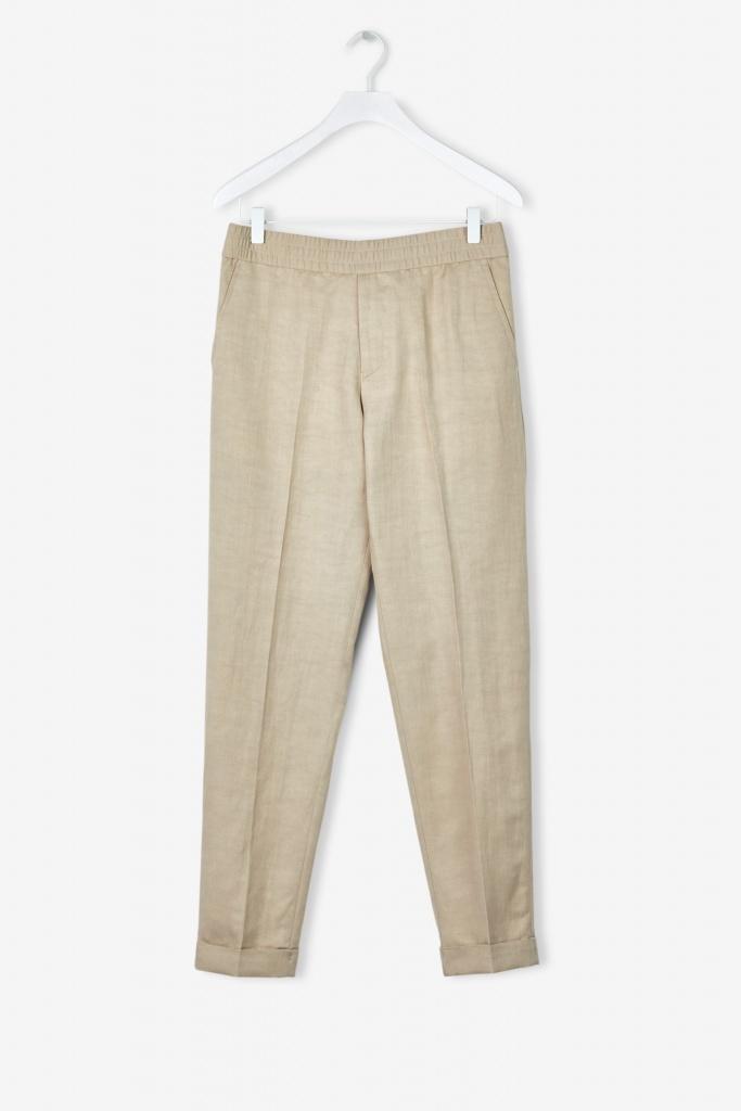 M. Terry Cropped Linen Slacks Khaki