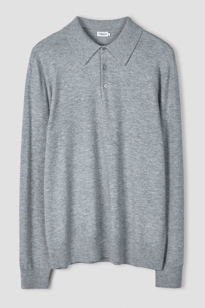 M. Knitted Polo Shirt light grey