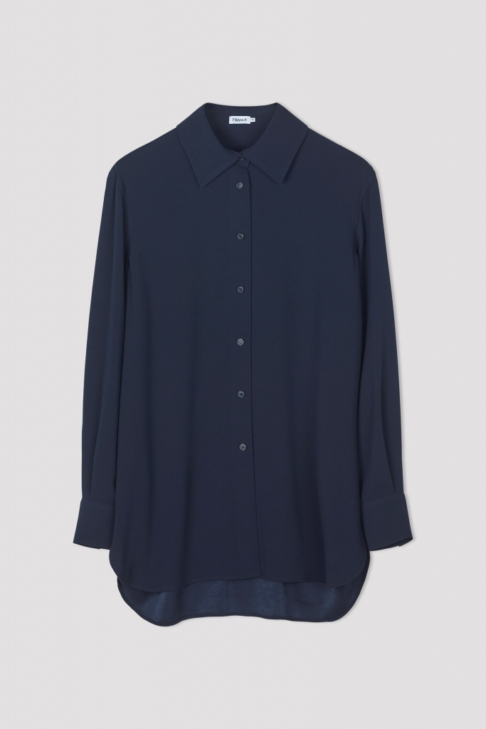 Long Crepe Shirt Navy