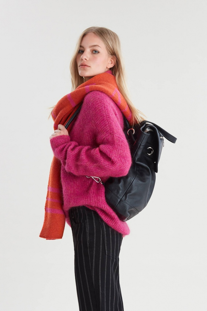Debbie crop pullover Deep pink melange