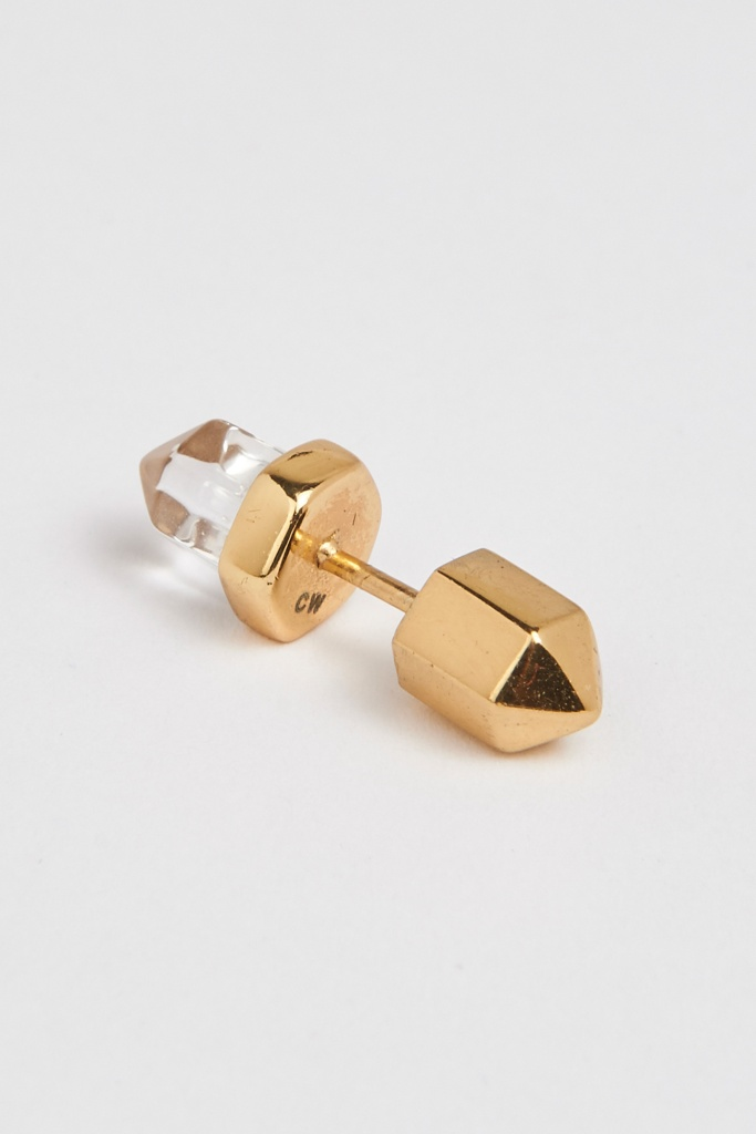 Crystalised stud earrings - pair gold plated brass